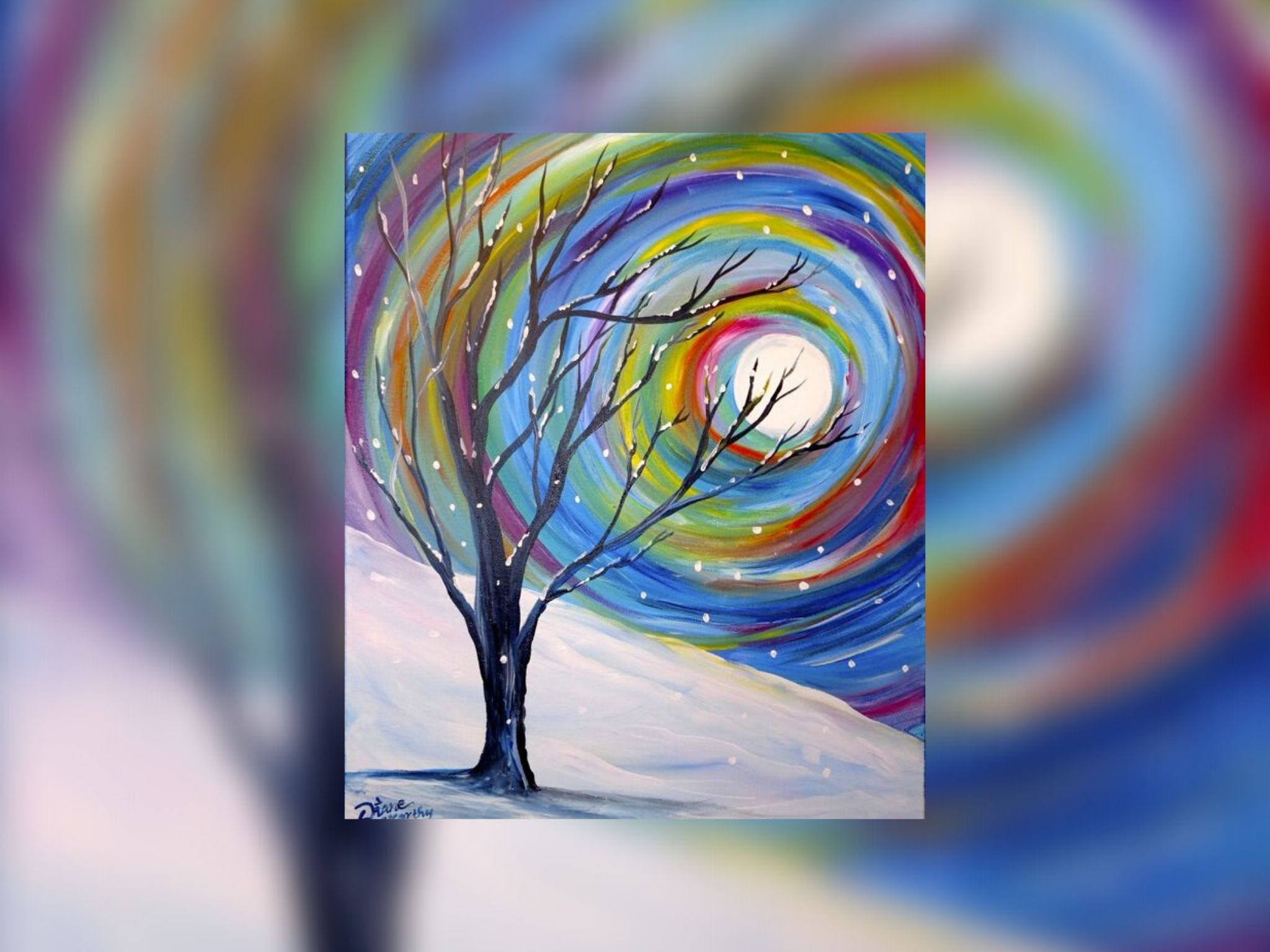 Grab a glass of wine and learn to paint 'Rainbow Snow' - Accommodation Australia